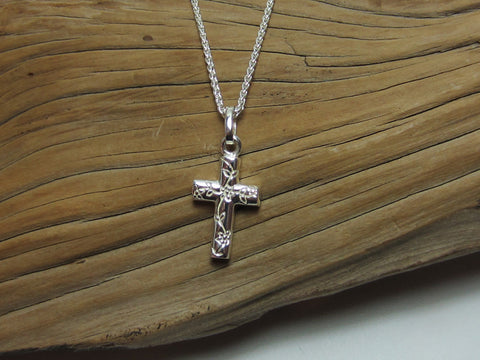 sterling silver engraved cross with flowers pendant 925 canterbury
