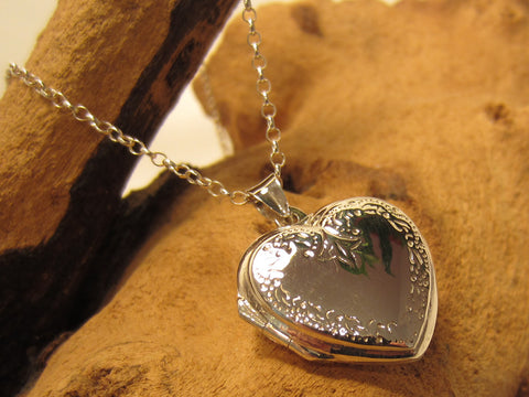 sterling silver engraved heart locket romantic 925 canterbury
