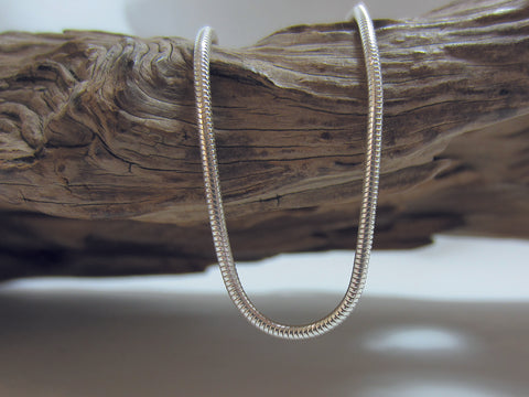 Nice quality, sterling silver Italian snake chain with a diameter of  1.9mm. 925 Silver Canterbury