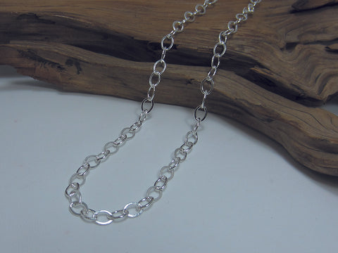 A nice flattened oval link which is around 7mm long, it makes a great everyday necklace. Sterling silver. 925 Silver Canterbury