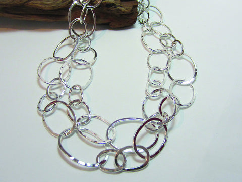 sterling silver hammered link necklace 925 Canterbury