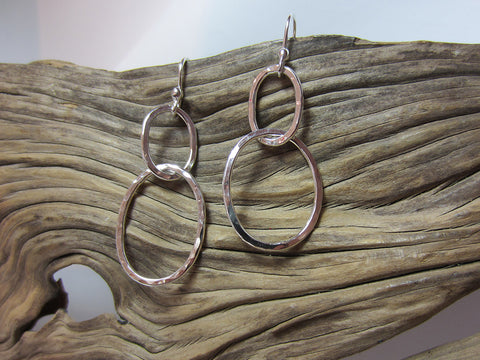sterling silver hammered link drop earrings 925 Canterbury