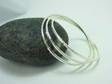 sterling silver hammered triple square section bangle 925 canterbury
