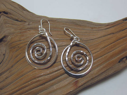 sterling silver hammered circle drops
