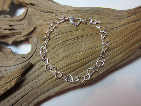 sterling silver heart link bracelet 925 Canterbury