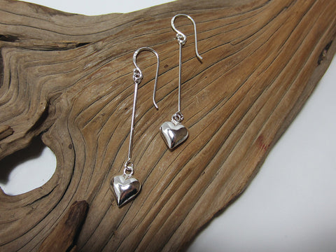 sterling silver long heart drop earrings 925 Canterbury