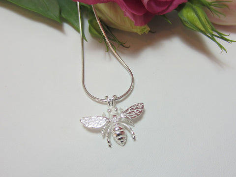 sterling silver honey bee pendant nature 925 canterbury