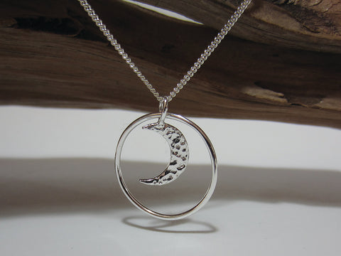 sterling silver moon pendant 925 Canterbury