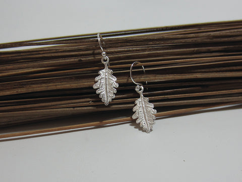 sterling silver oak leaf drop earrings 925 Canterbury