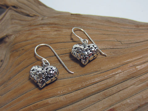 sterling silver pebble heart drops 925 Canterbury