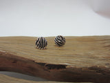 sterling silver round oxidised stud earrings