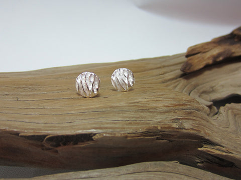 sterling silver round crumpled satin stud earrings
