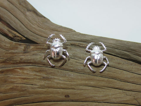 sterling silver scarab beetle stud earrings