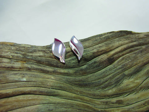 sterling silver simple leaf studs
