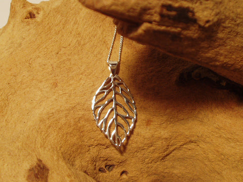 small leaf skeleton pendant