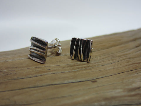 sterling silver square crumpled oxidised stud earrings