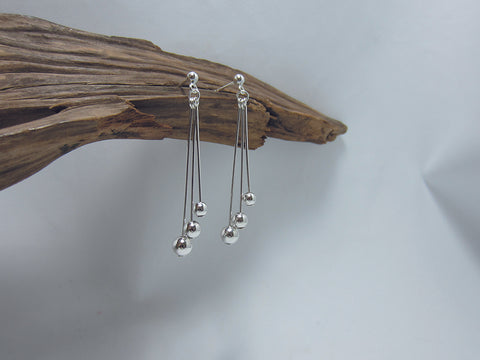 sterling silver staggered bead drop earrings 925 canterbury