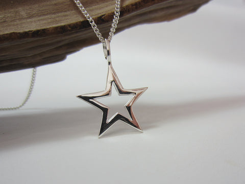 sterling silver star pendant 925 canterbury