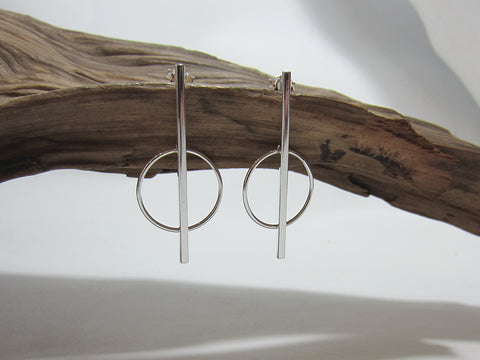 sterling silver stick and circle drops 925 Canterbury