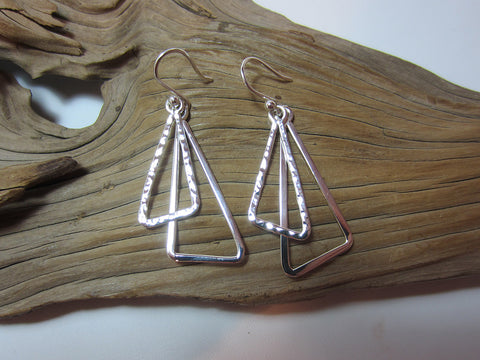 sterling silver swinging triangle drop earrings 925 Canterbury