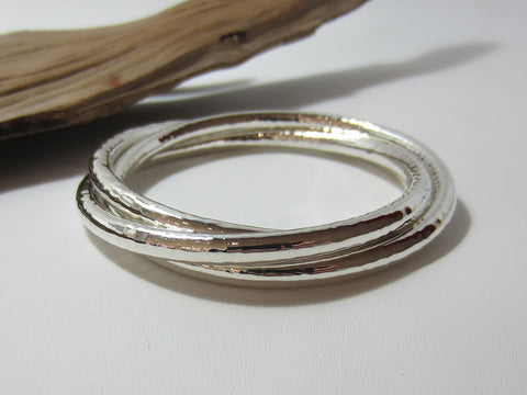 sterling silver triple hammered bangle 925 Canterbury