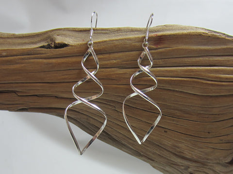 sterling silver triple twist drop earrings