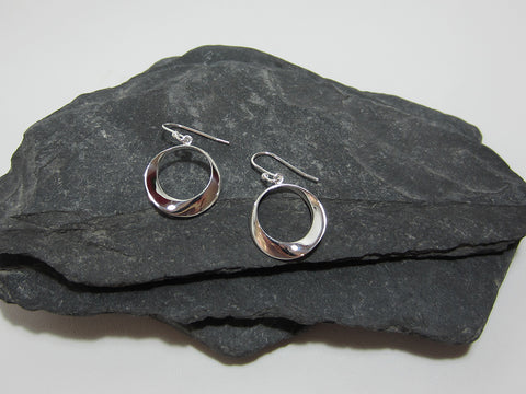 sterling silver twisted circle drop earrings 925 Canterbury