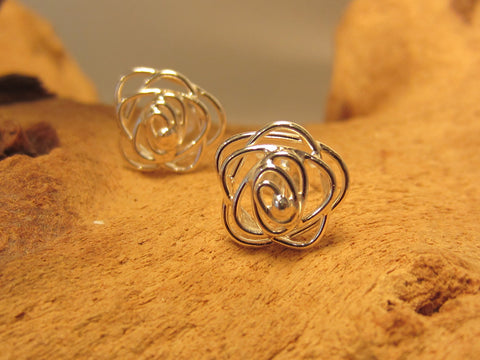 sterling silver rose flower wire stud earrings