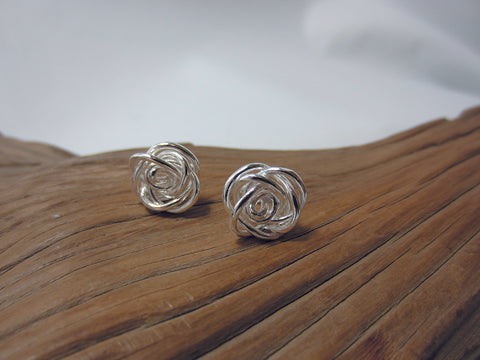 These sterling silver wire flower studs measure 12mm across 925 Canterbury