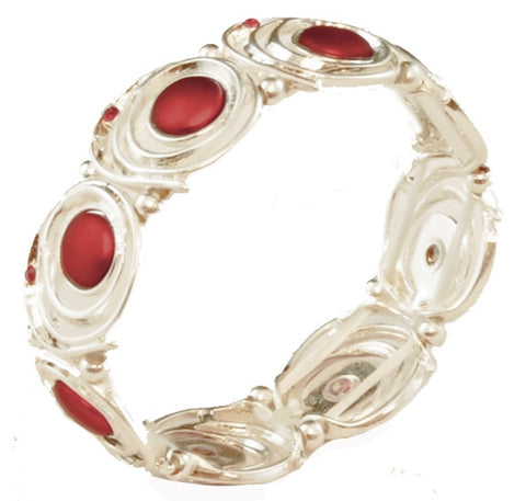 White And Red Swirls Bracelet