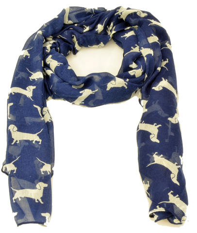 Dashing dachshunds in navy and white