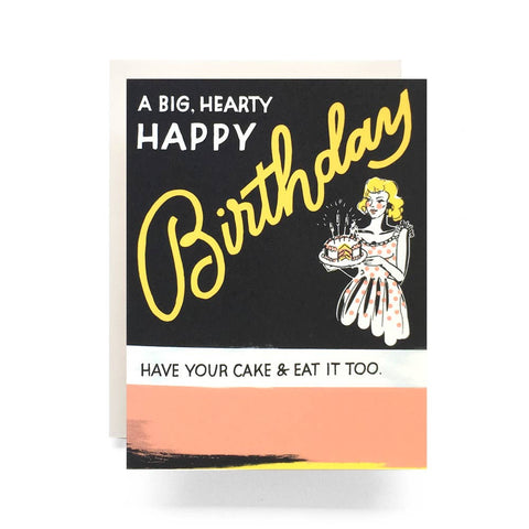 Retro Birthday Cake Greeting Card