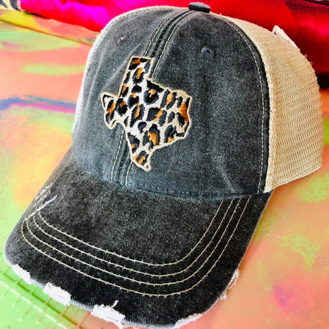 Leopard Texas Distressed Hat