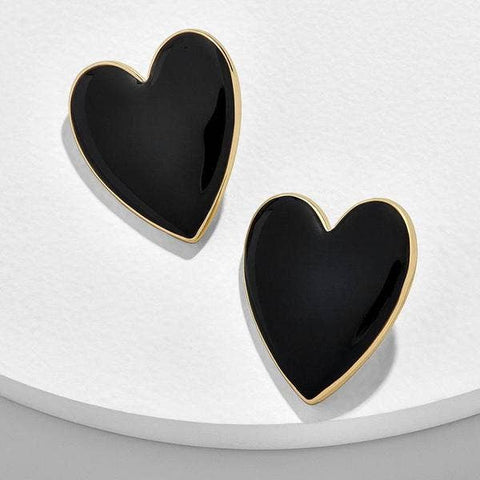 Black Gold Accent Heart Earrings