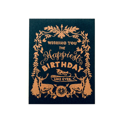 Happy Birthday Deer Crest, Navy Greeting Card
