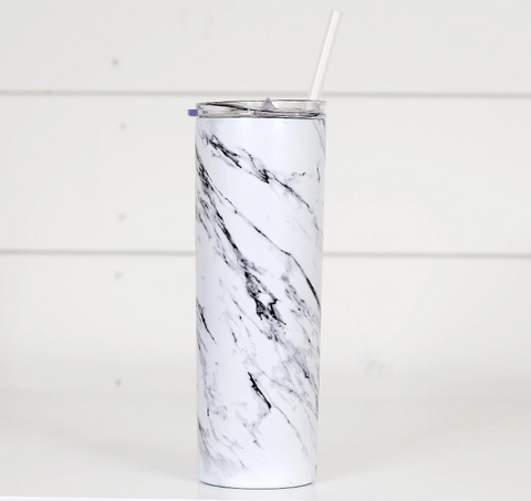 White Marble Travel Cup