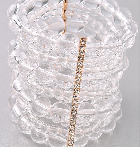 Clear Beaded Stacked Bracelet
