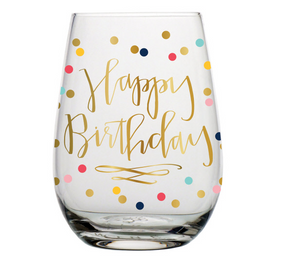 Happy Birthday Polkadot Stemless Wine Glass