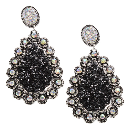 Stud Crystal And Glitter Teardrop Earrings- 5 COLORS
