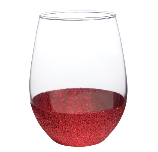 Red Glitter Bottom Stemless Wine Glass