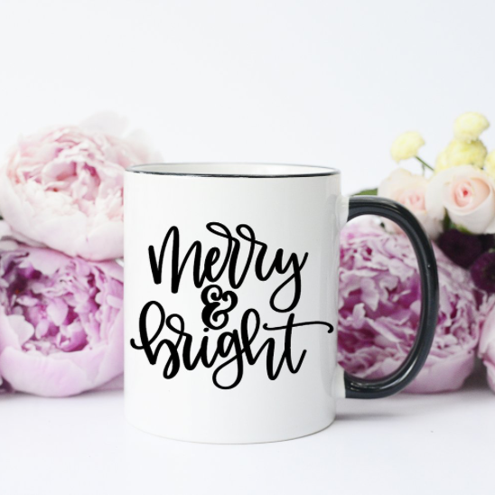 Merry & Bright Black Handle Mug-SALE