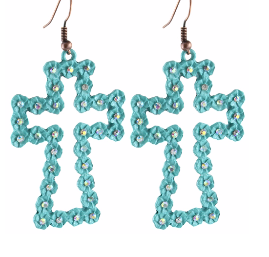 Turquoise Rose Cross Earrings