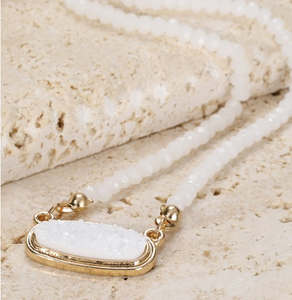 Crystal Beaded Druzy Pendant Necklace- 3 COLORS