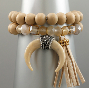 Horn Wood Bracelet Set- 2 COLORS