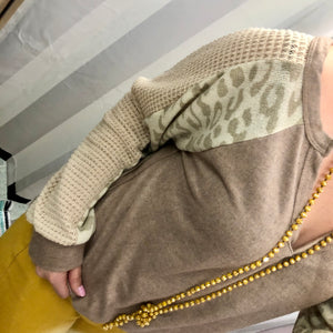 Leopard Latte Knit Sleeve Top