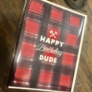 Buffalo Plaid Dude Birthday Card
