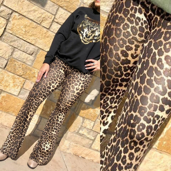 Giddy Up Leopard Flare Bottoms S-2XL