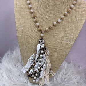 Ivory Beaded Leopard Fabric Tassel Necklace