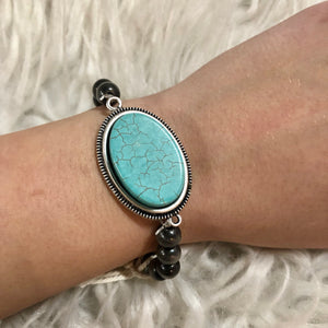 Oval Turquoise Stone Layer Bracelet