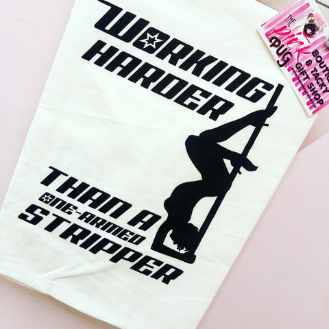 One Armed Stripper Dish Towel